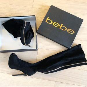 Bebe black Darla High over the knee heel boots